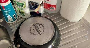 ترفند جالب برای تمیز کردن سوختگی زیر قابلمه و ماهیتابه
